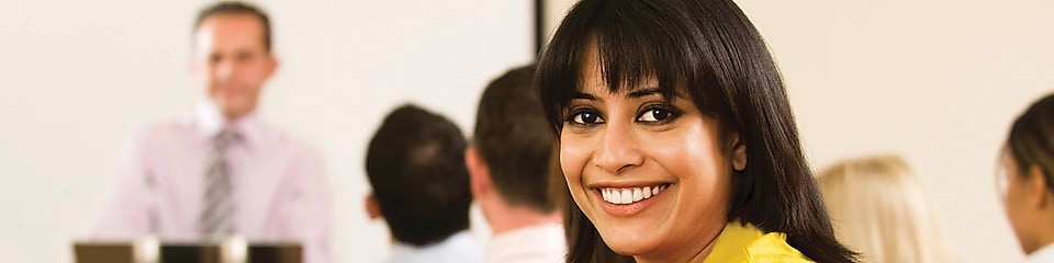 female employee in conference
